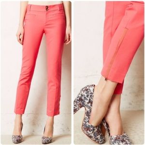 Anthro Cartonnier Pink Charlie Ankle Zip Pants